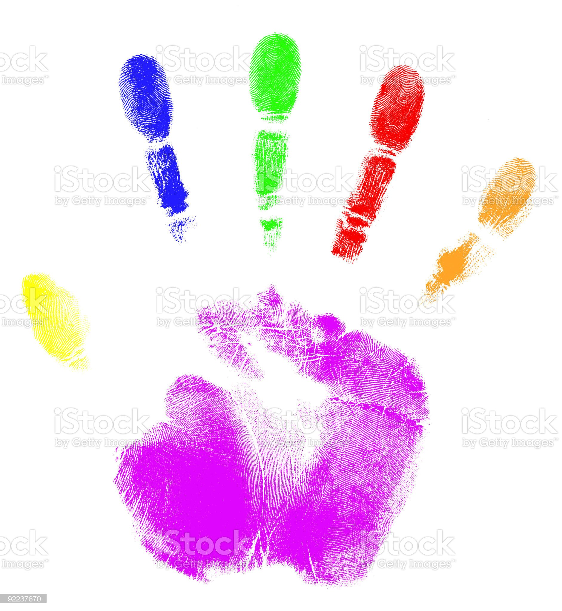 A hand print with different colors for each finger and palm royalty-free stock photo
