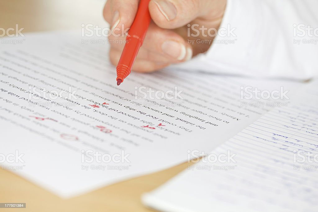 Hand Proofing a Transcribed Page stock photo