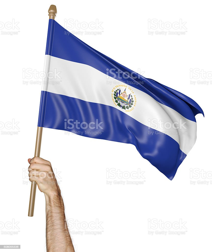 Hand proudly waving the national flag of El Salvador stock photo
