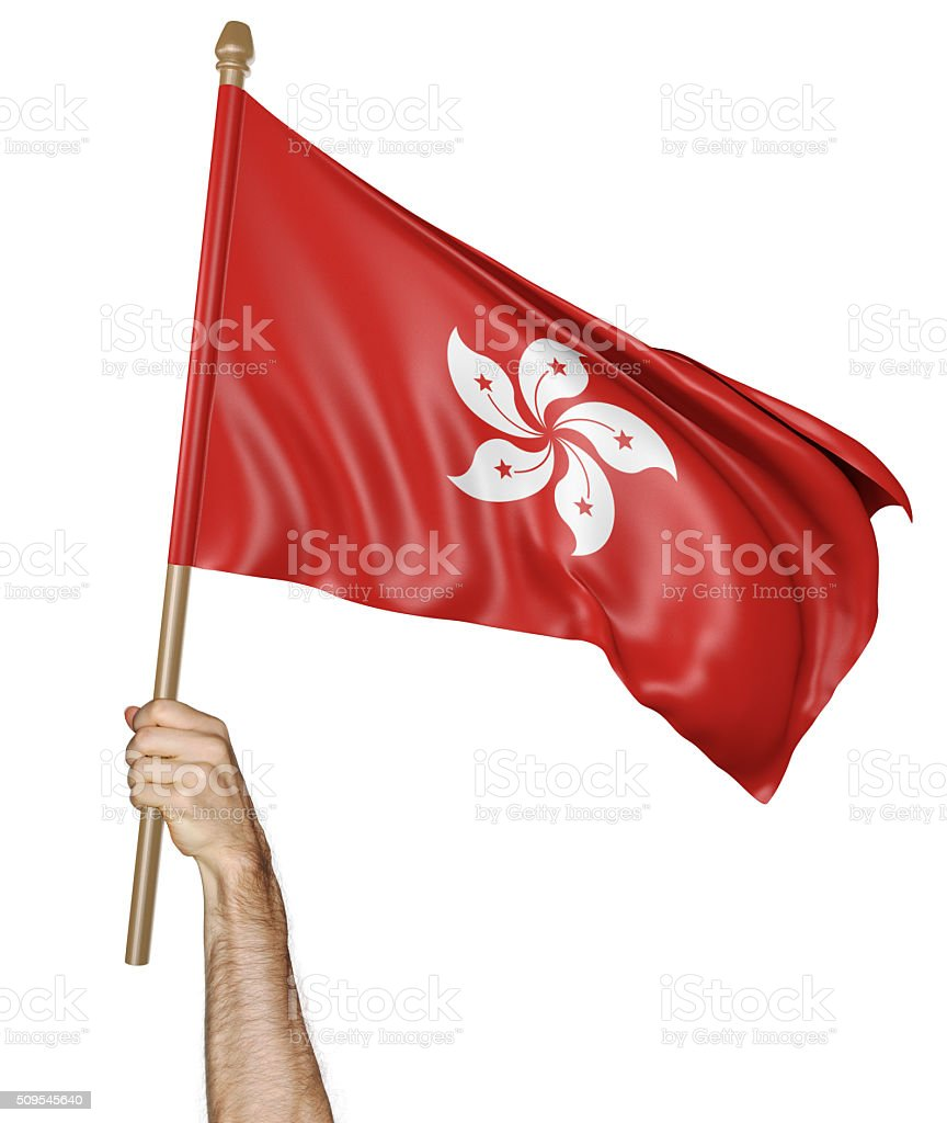 Hand proudly waving the national flag of Hong Kong stock photo