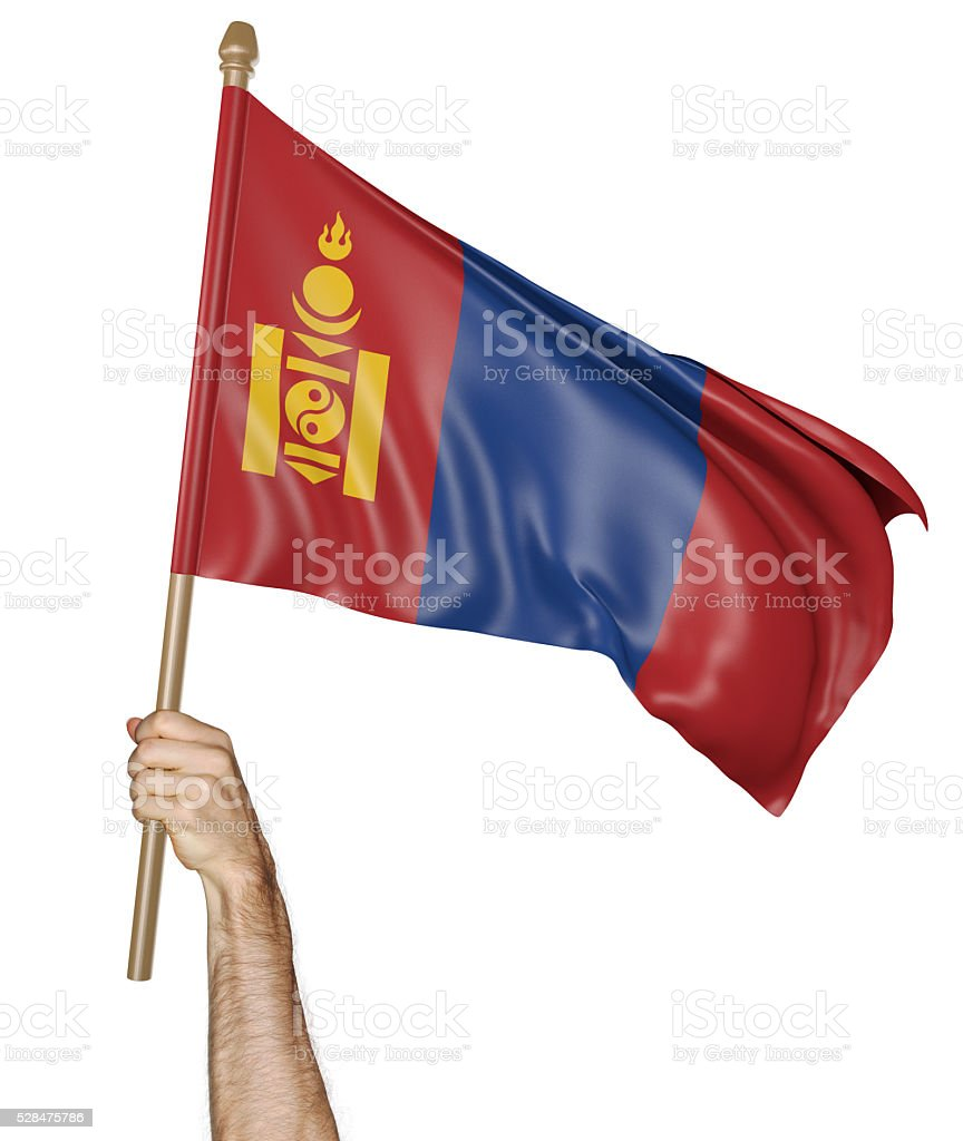 Hand proudly waving the national flag of Mongolia stock photo