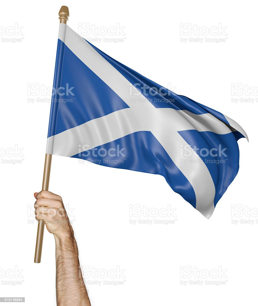 Hand proudly waving the national flag of Scotland stock photo