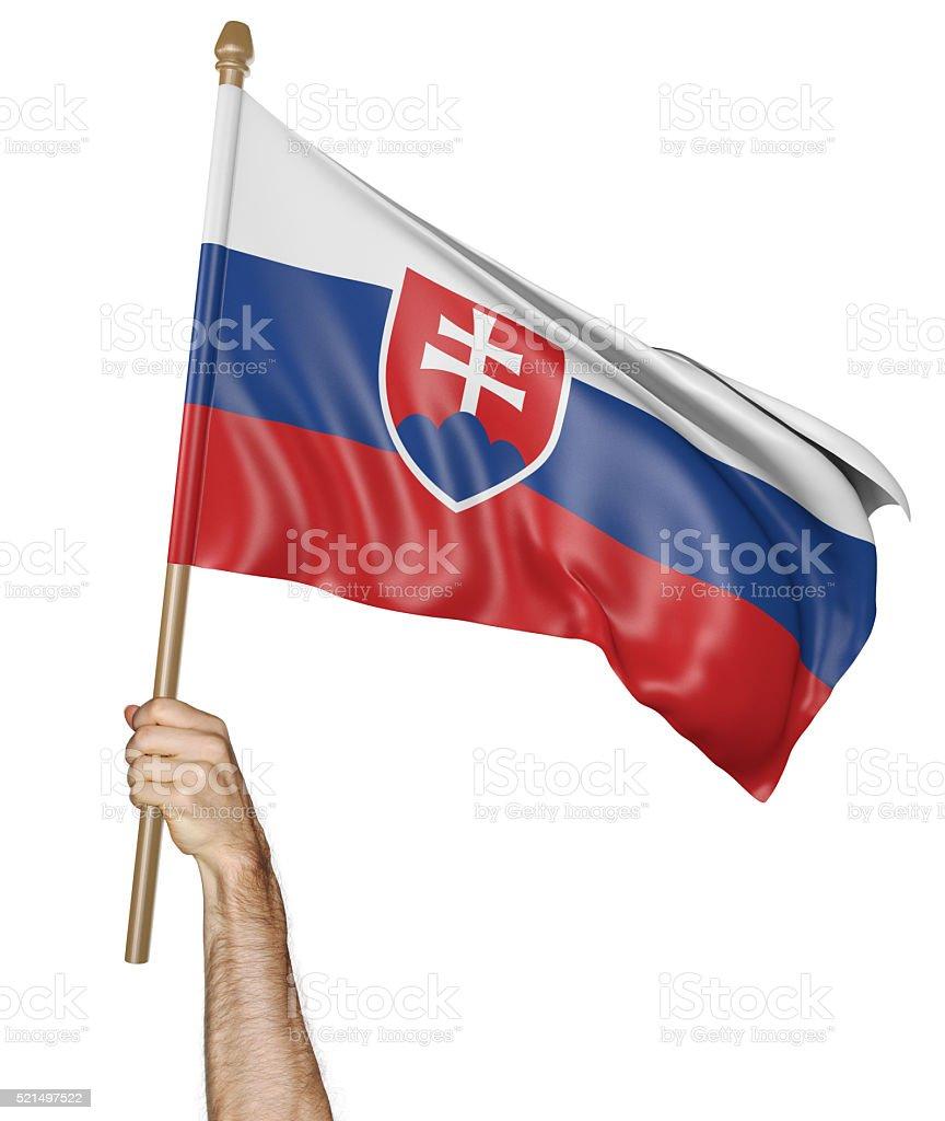 Hand proudly waving the national flag of Slovakia stock photo
