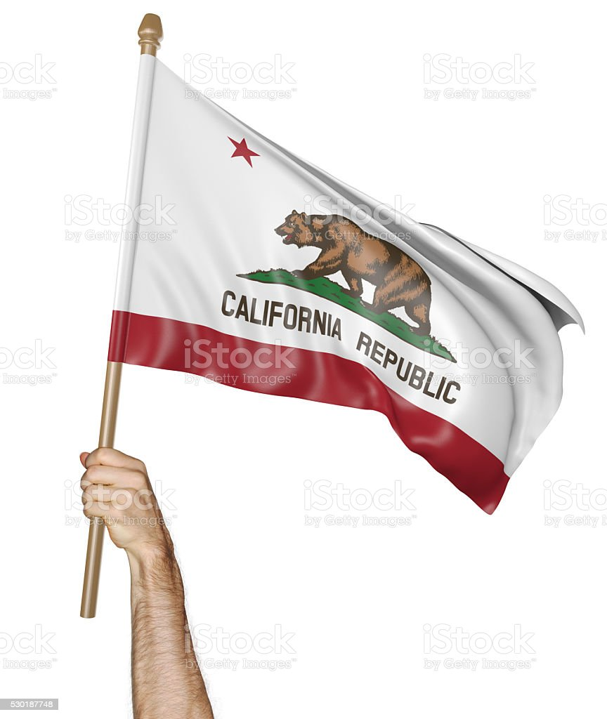 Hand proudly waving the state flag of California stock photo