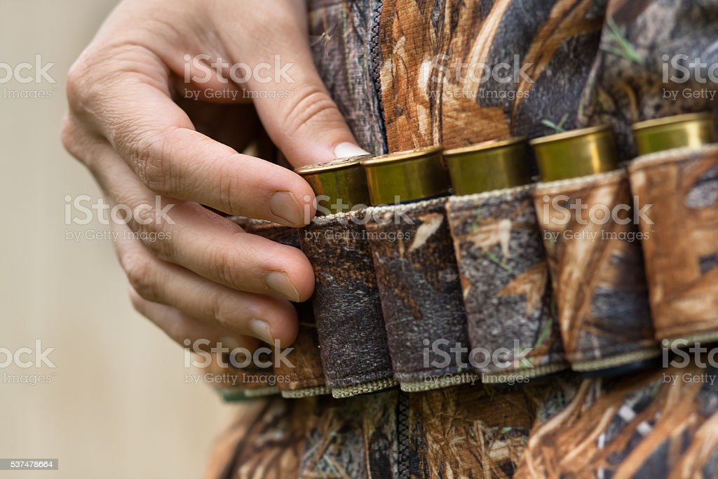 hand pulling cartridge from the bandoleer stock photo