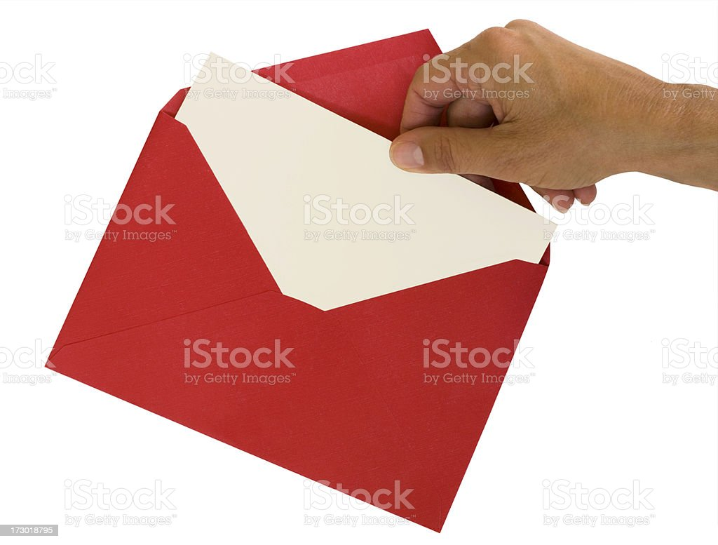 Hand Pulling White Card From Red Envelope royalty-free stock photo