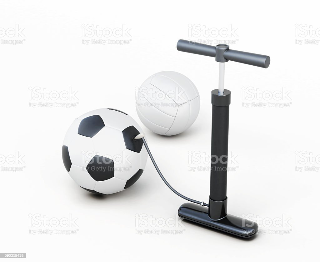 Hand pump and balls isolated on white background. stock photo