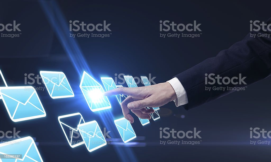 hand pushing a button royalty-free stock photo