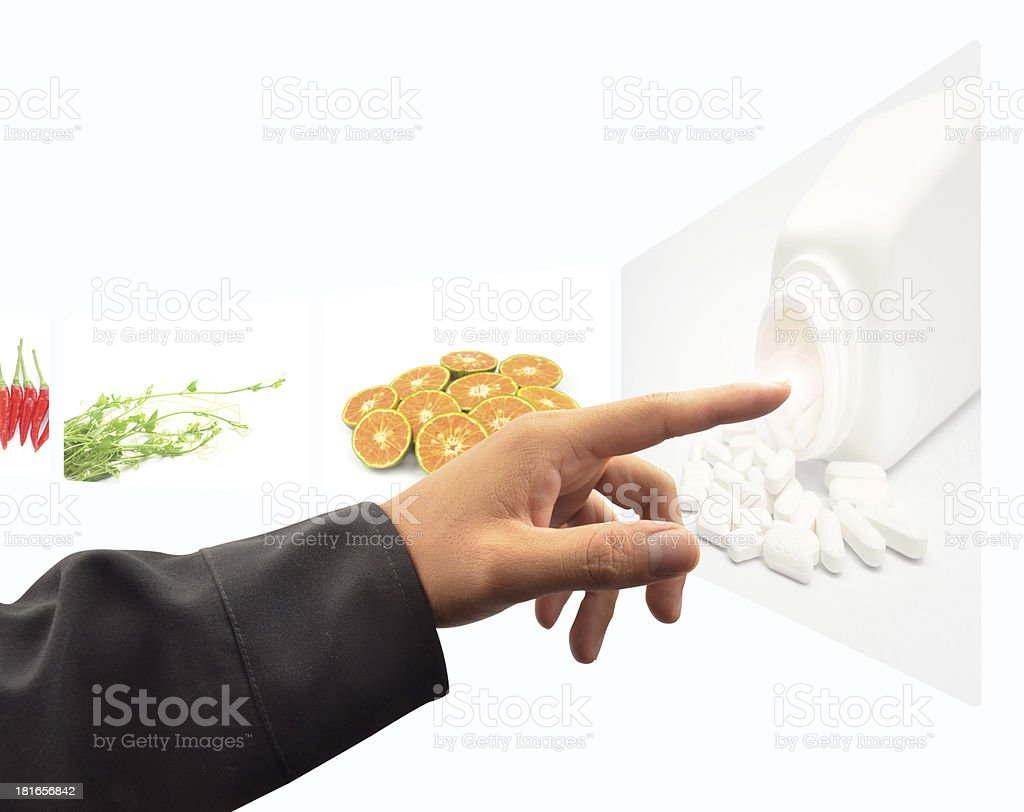 hand pushing a touch screen interface royalty-free stock photo