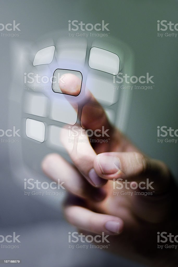 hand pushing digital buttons royalty-free stock photo