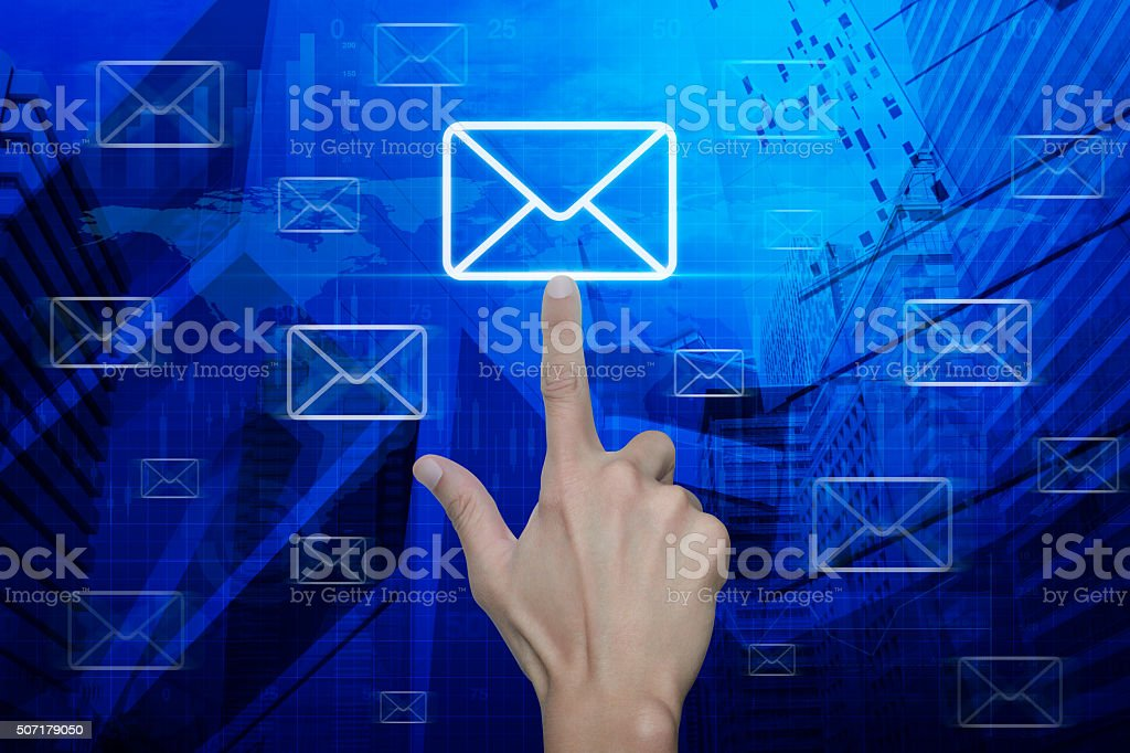 Hand pushing email, Elements of this image furnished by NASA stock photo