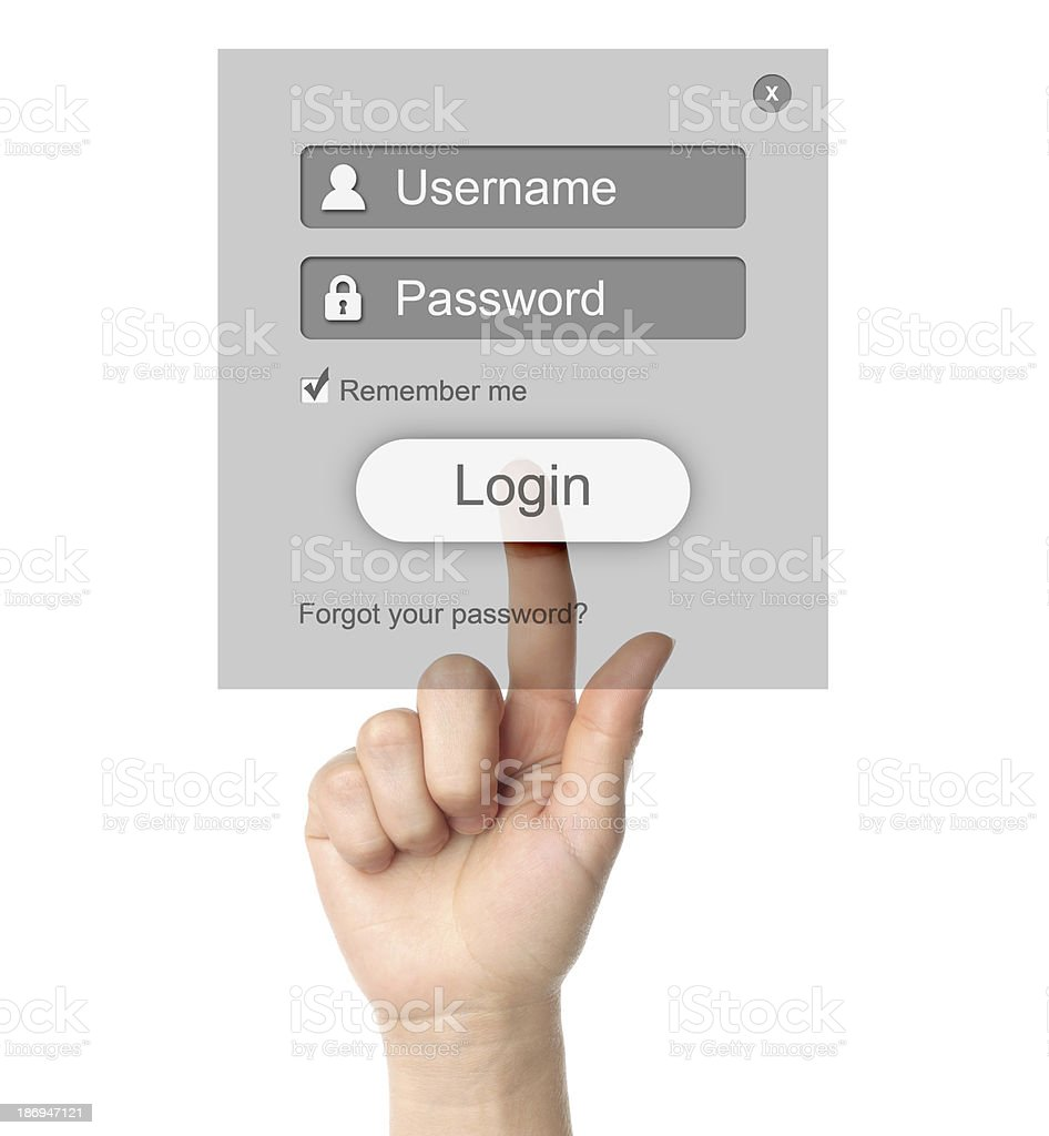 Hand pushing grey login box form ui element stock photo