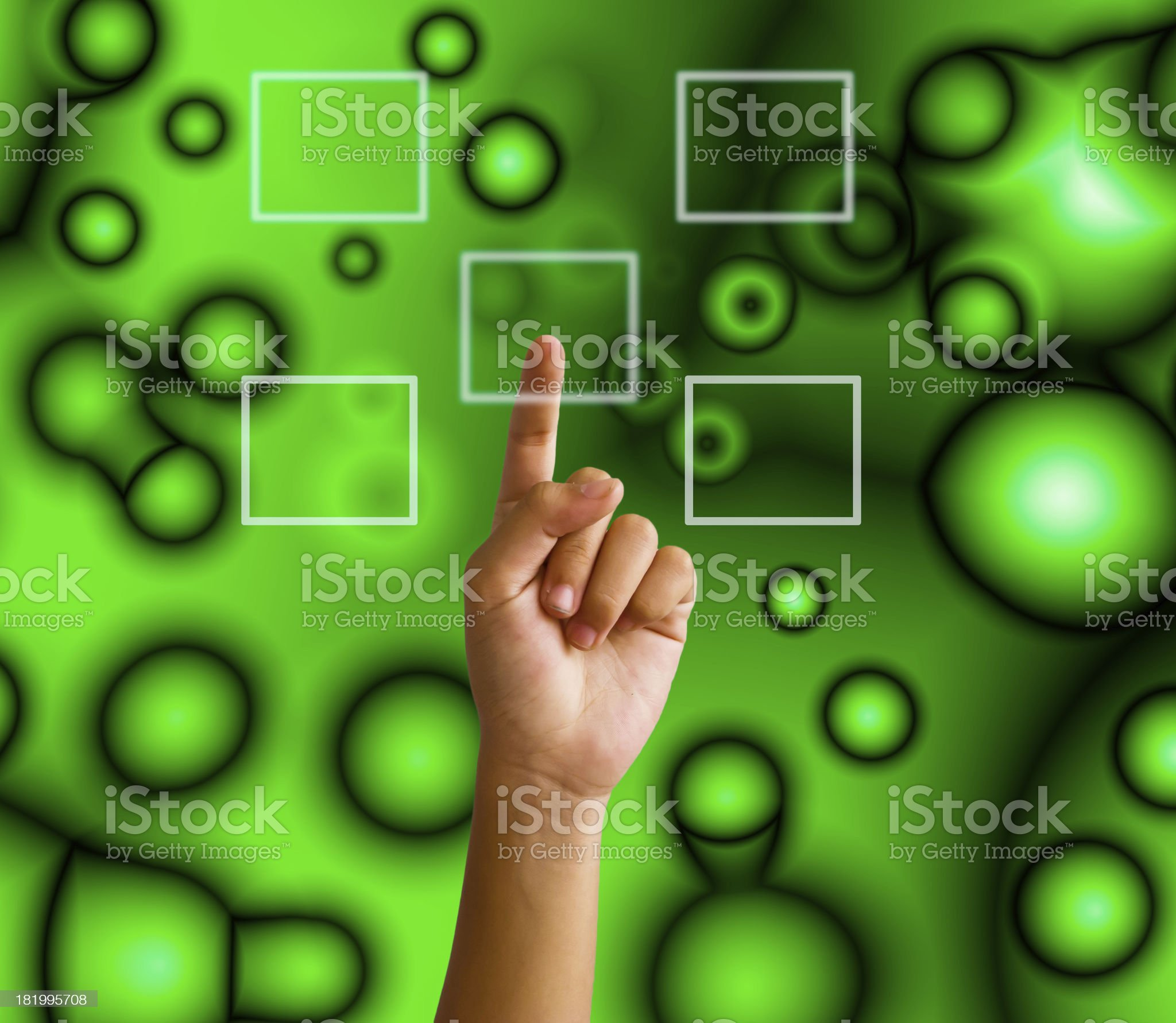 hand pushing on a touch screen interface royalty-free stock photo