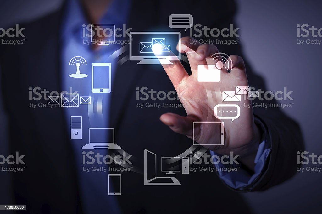 hand pushing on a touch screen royalty-free stock photo