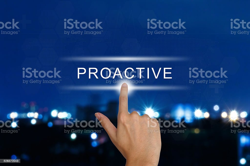 hand pushing proactive button on touch screen stock photo