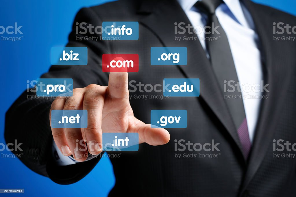 Hand Pushing Virtual Domain Name, Internet concept stock photo