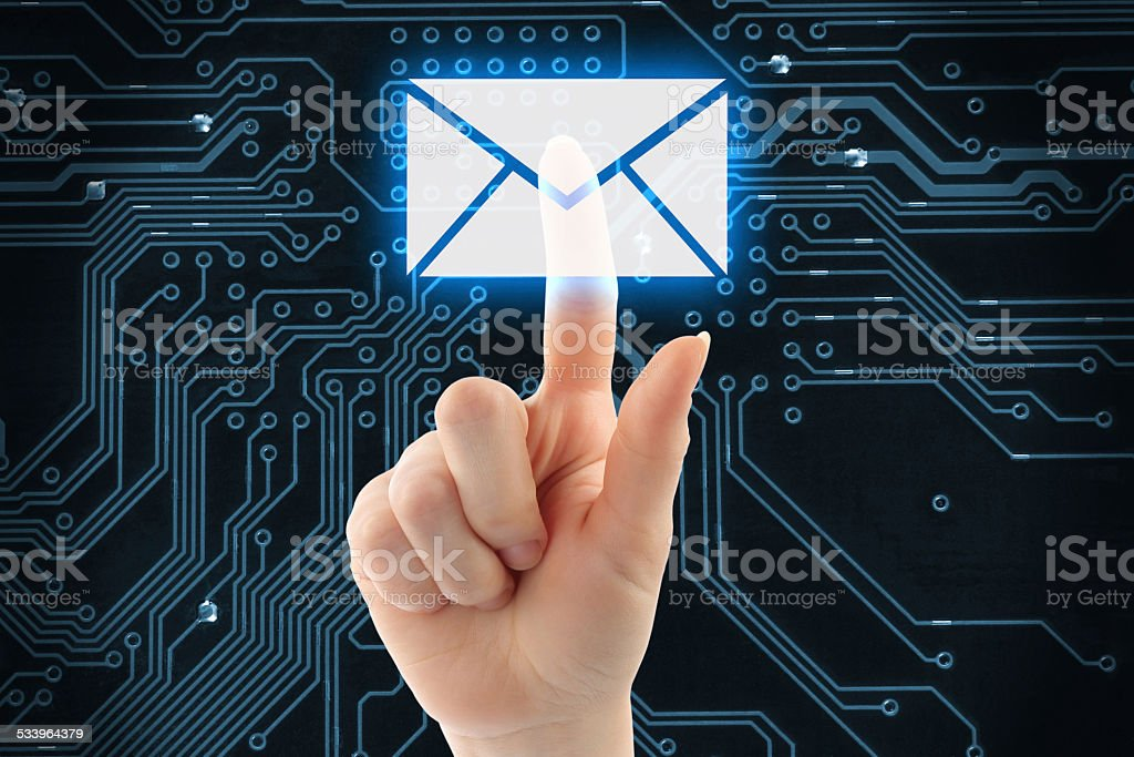 Hand pushing virtual mail button stock photo