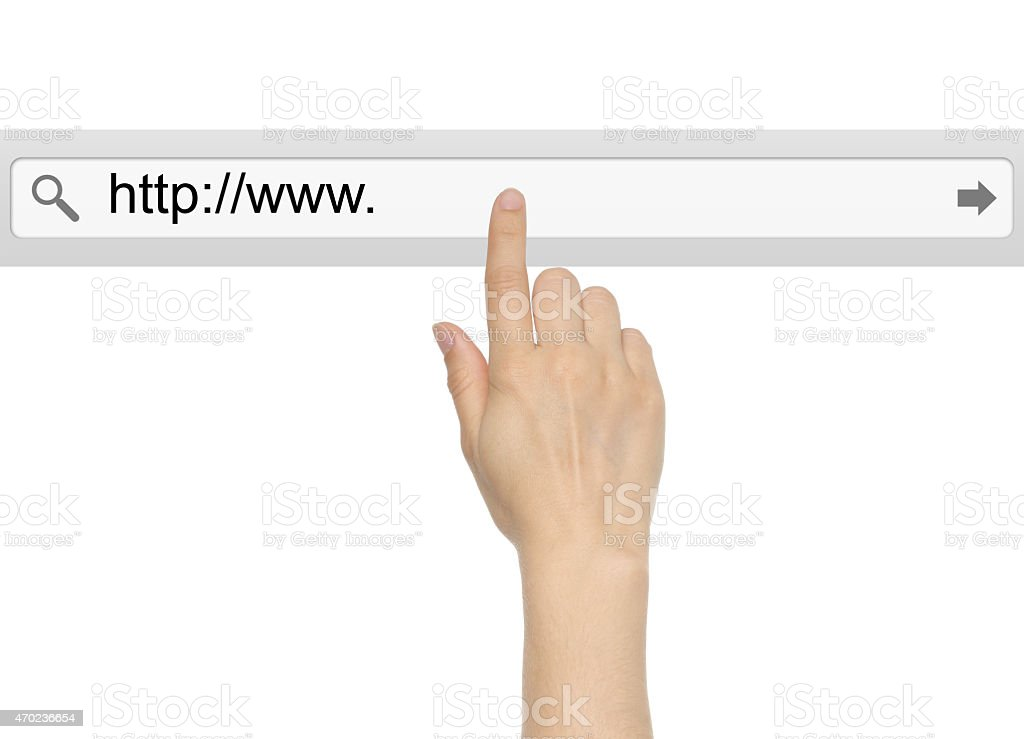 Hand pushing virtual search bar stock photo