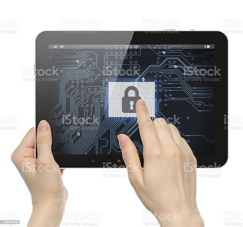 Hand pushing virtual security button stock photo