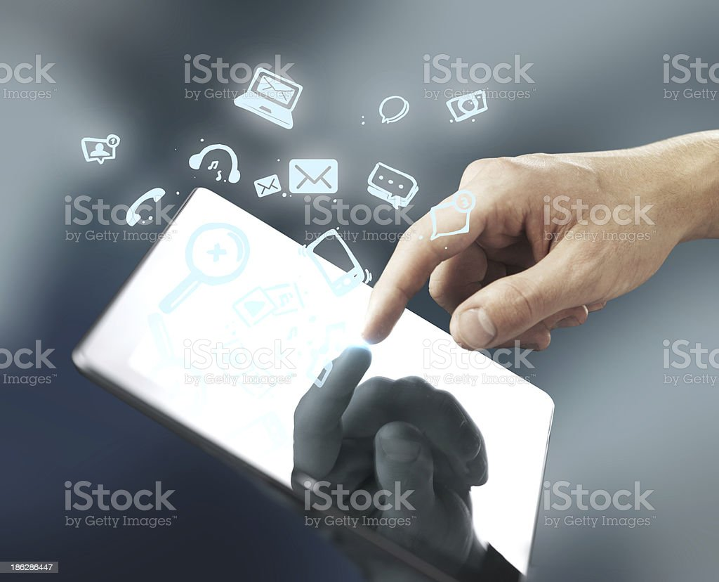 hand pusning tablet royalty-free stock photo