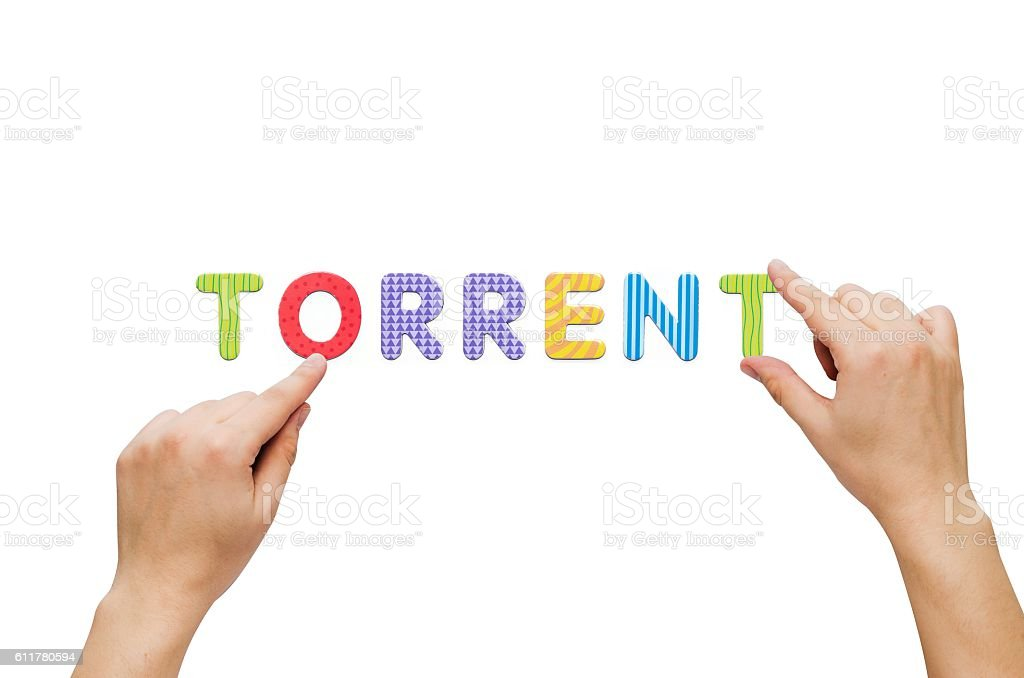 Hand put the word Torrent with magnetic letters stock photo
