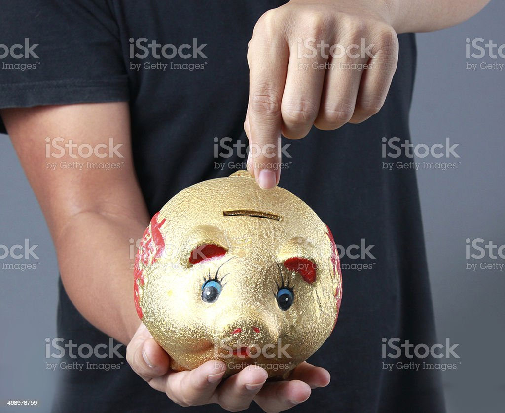 hand putting coin into  piggy bank royalty-free stock photo
