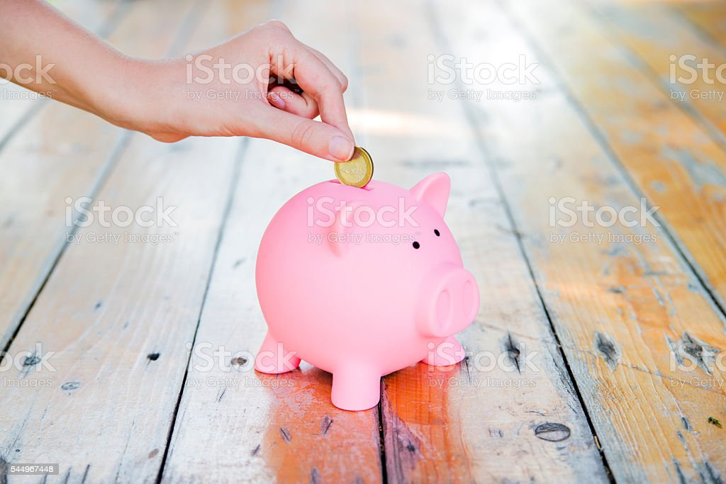Hand Putting Euro coin In Piggy Bank stock photo