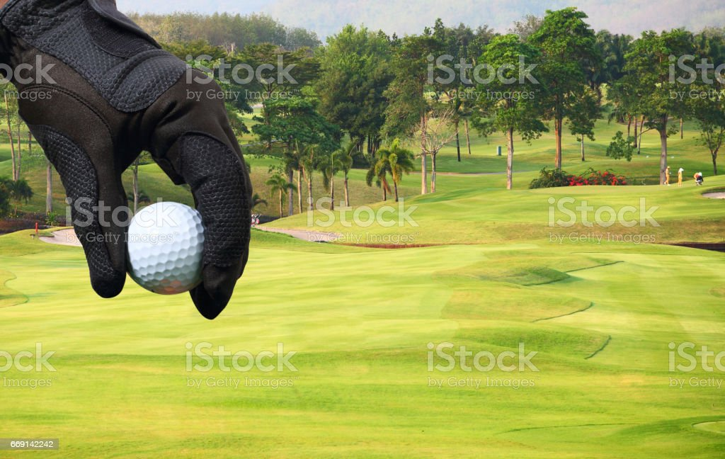 Hand putting golf ball stock photo