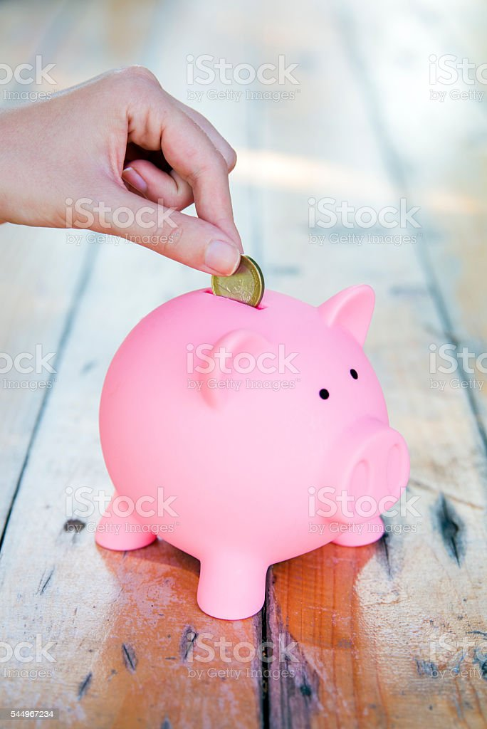 Hand Putting one Euro coin In Piggy Bank stock photo