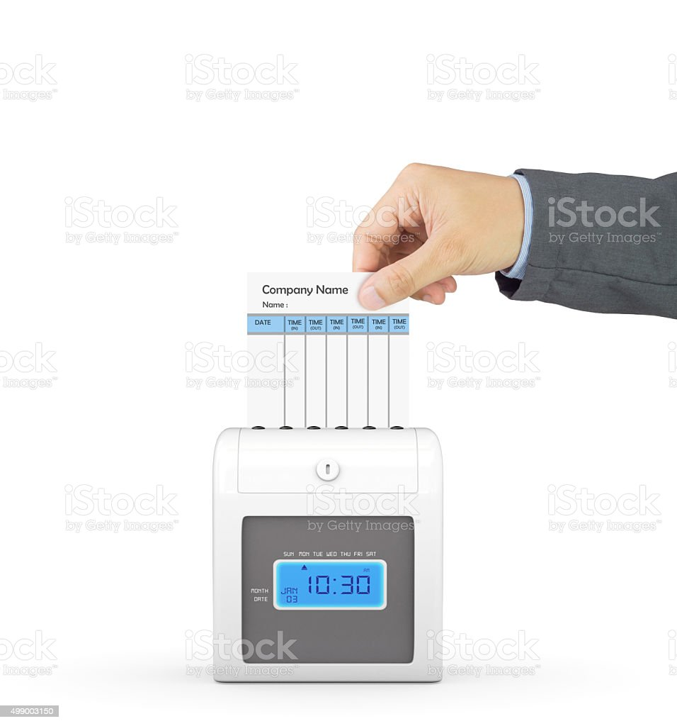 Hand putting paper card in time recorder with clipping path stock photo