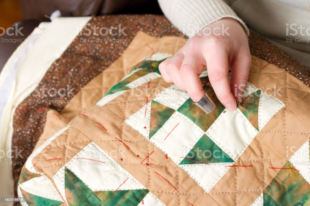 Hand Quilting stock photo