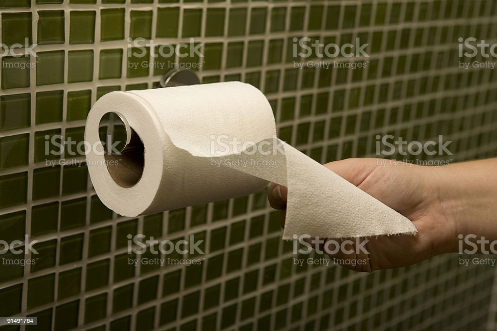 Hand Reaches for Toilet Paper stock photo