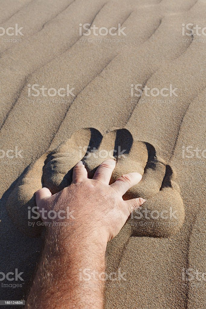 Hand reaching for help on desert royalty-free stock photo