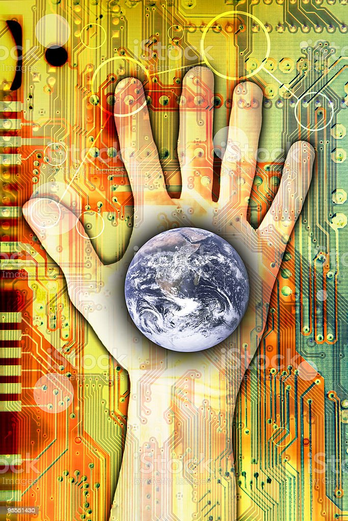 Hand reaching for the digital age stock photo