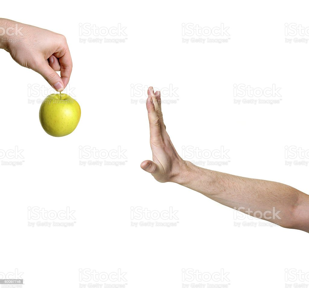 hand rejecting apple royalty-free stock photo