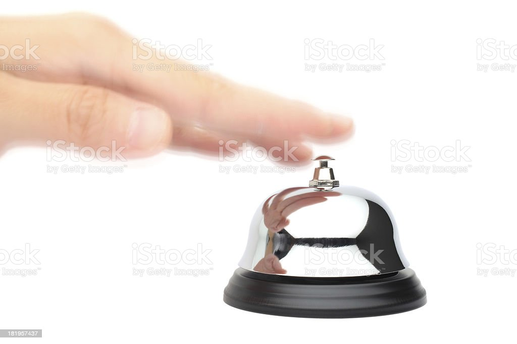 Hand Ringing a Service Bell royalty-free stock photo
