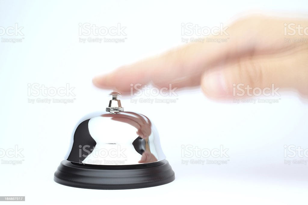 Hand Ringing Bell for Service royalty-free stock photo