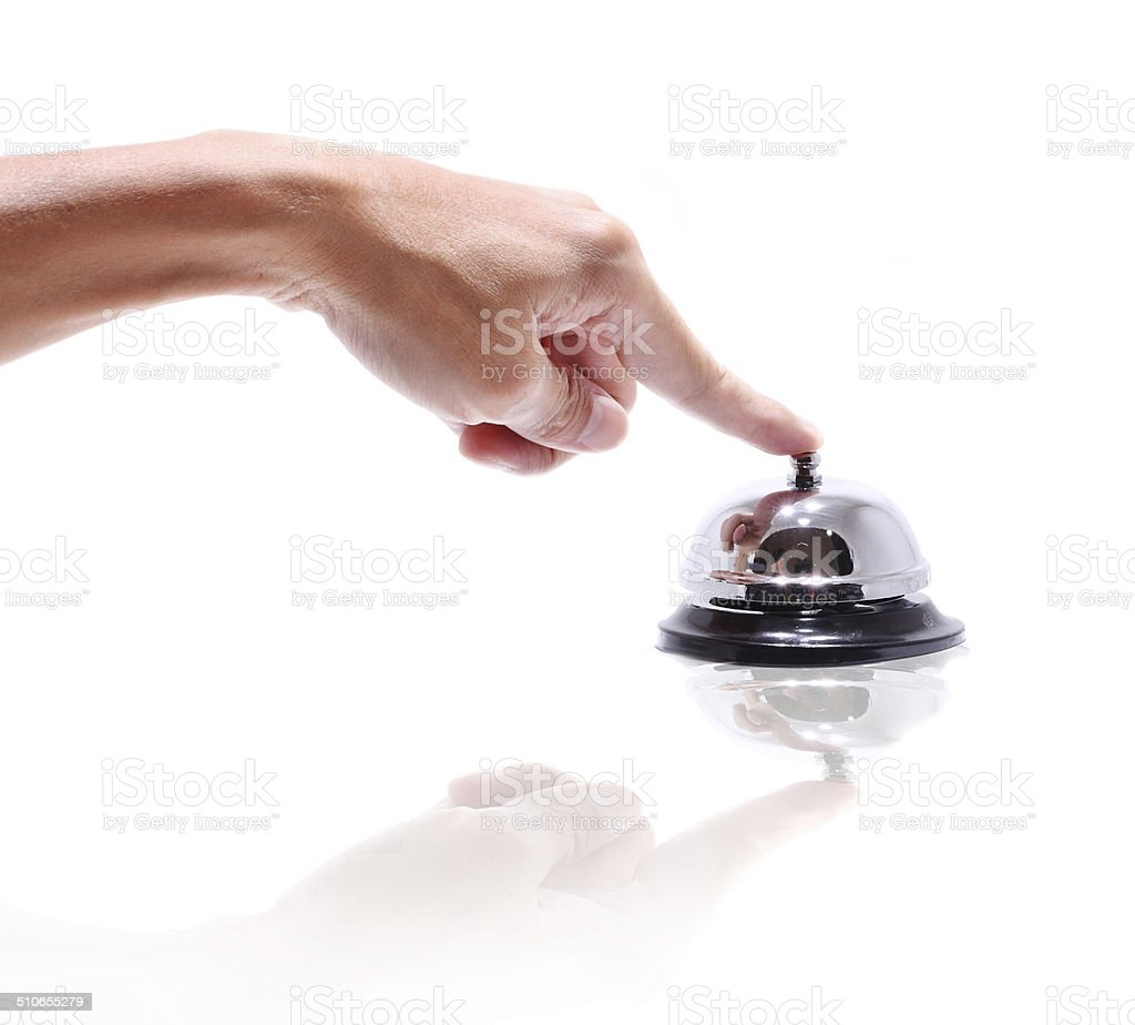 Hand ringing in service bell isolated on white stock photo