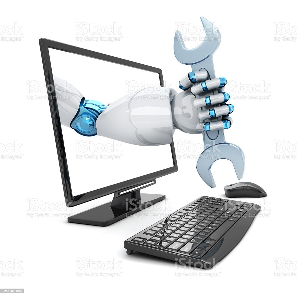 Hand robot and key stock photo