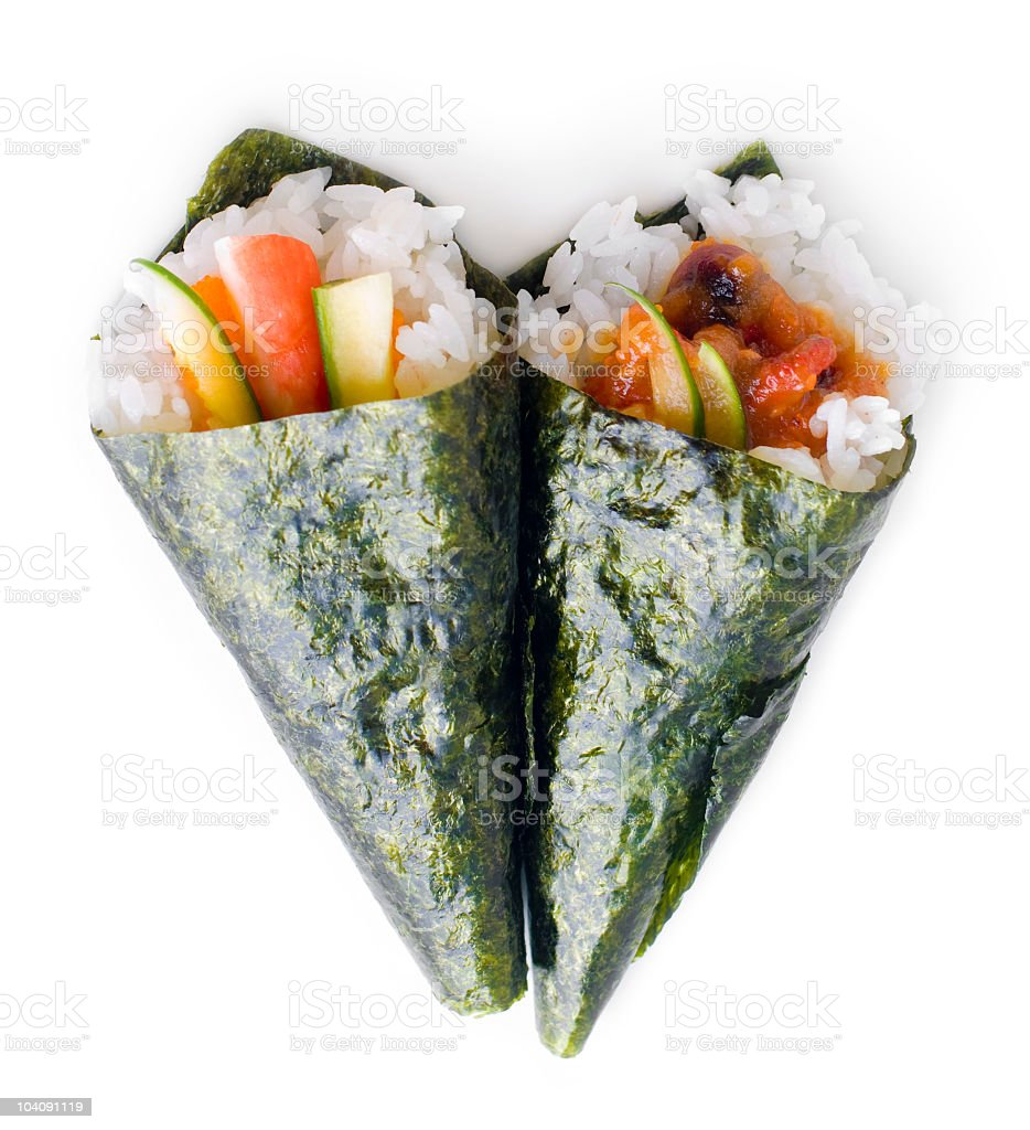 Hand rolled temaki sushi royalty-free stock photo