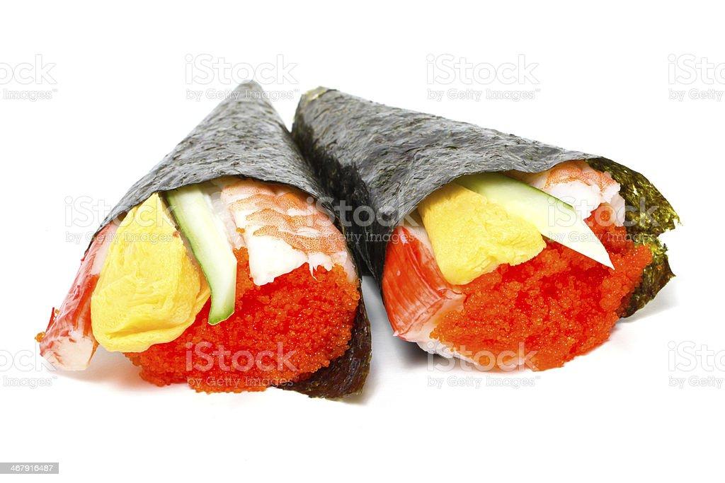 Hand rolled temaki sushi traditional japanese cuisine isolated o stock photo