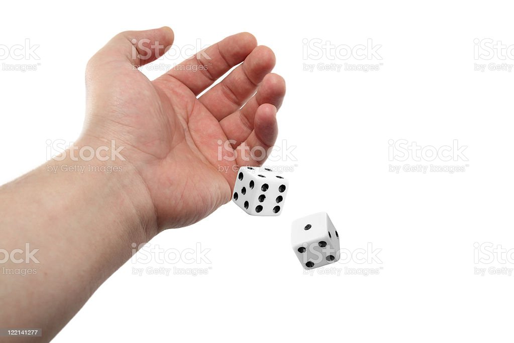 Hand Rolling Dices Isolated on White Background stock photo
