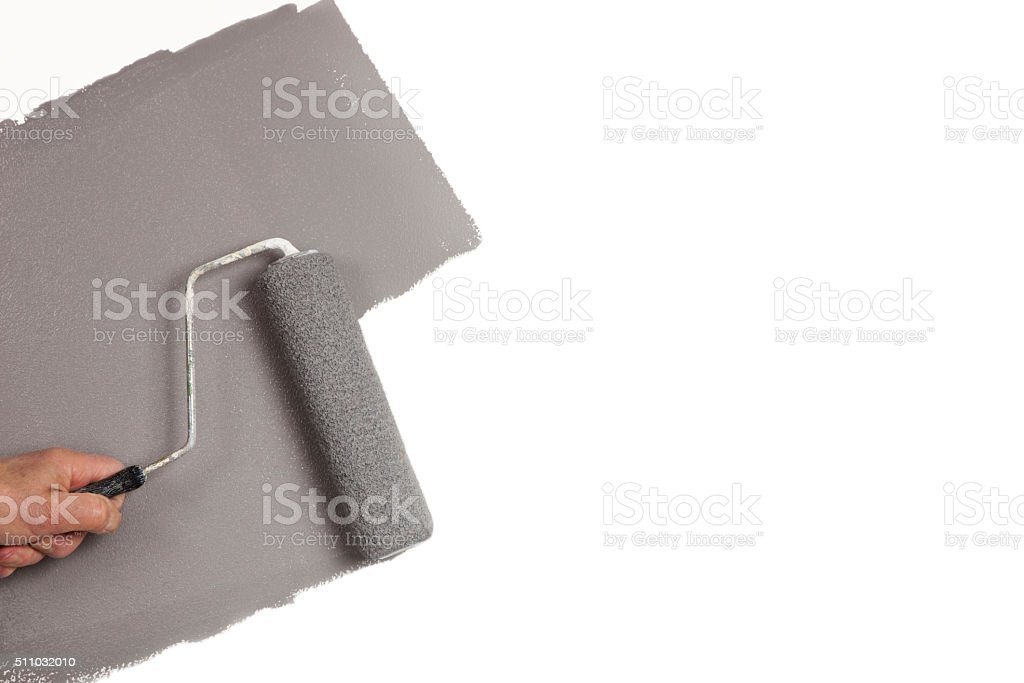 Hand rolling gray paint on white wall, copy space stock photo