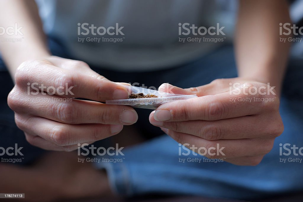 Hand Rolling Tobacco stock photo