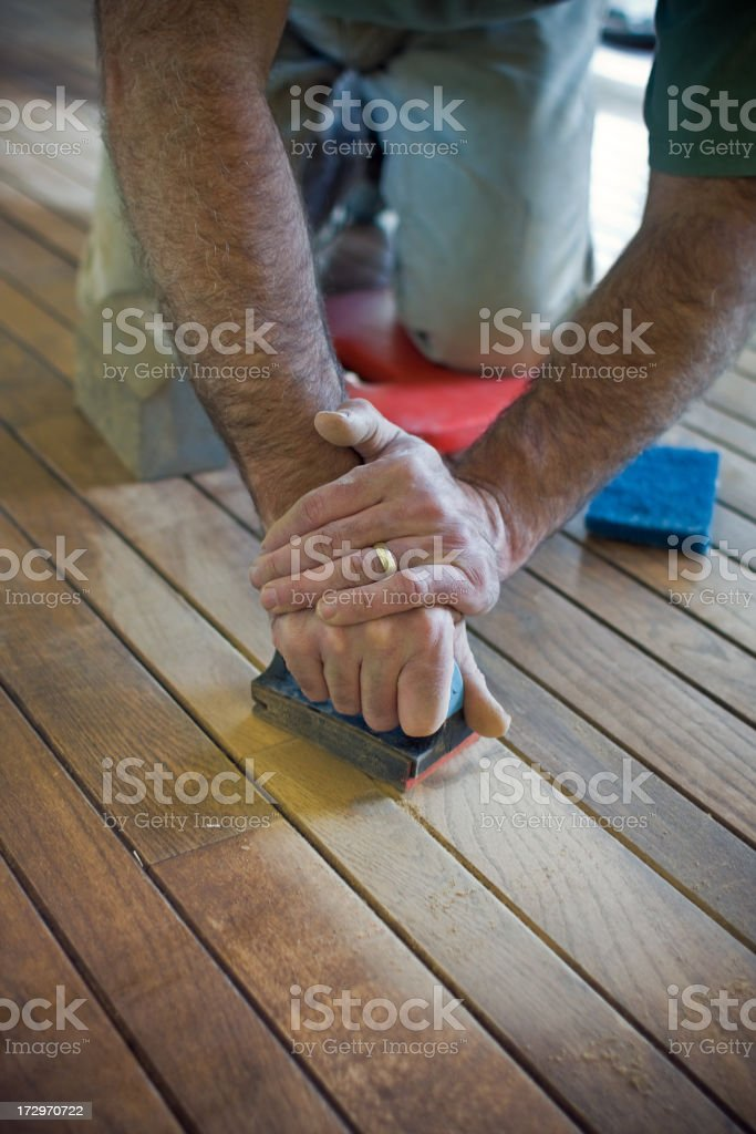 hand sanding royalty-free stock photo