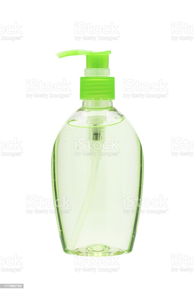 Hand sanitizer bottle stock photo