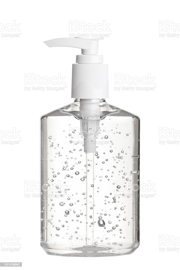Hand Sanitizer Gel in Clear Pump Bottle royalty-free stock photo