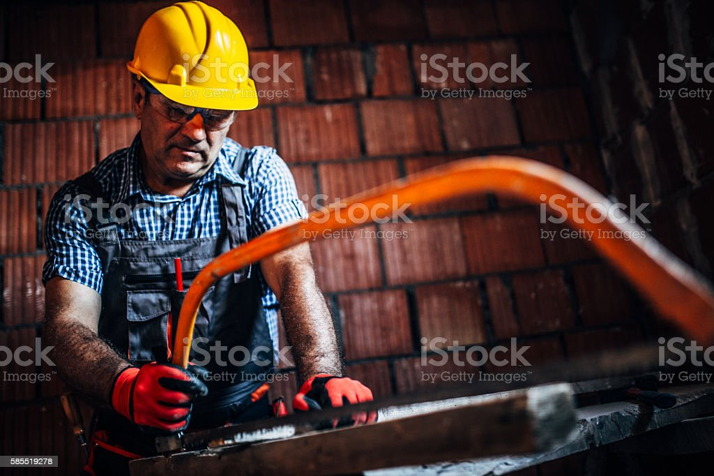 Hand saw stock photo