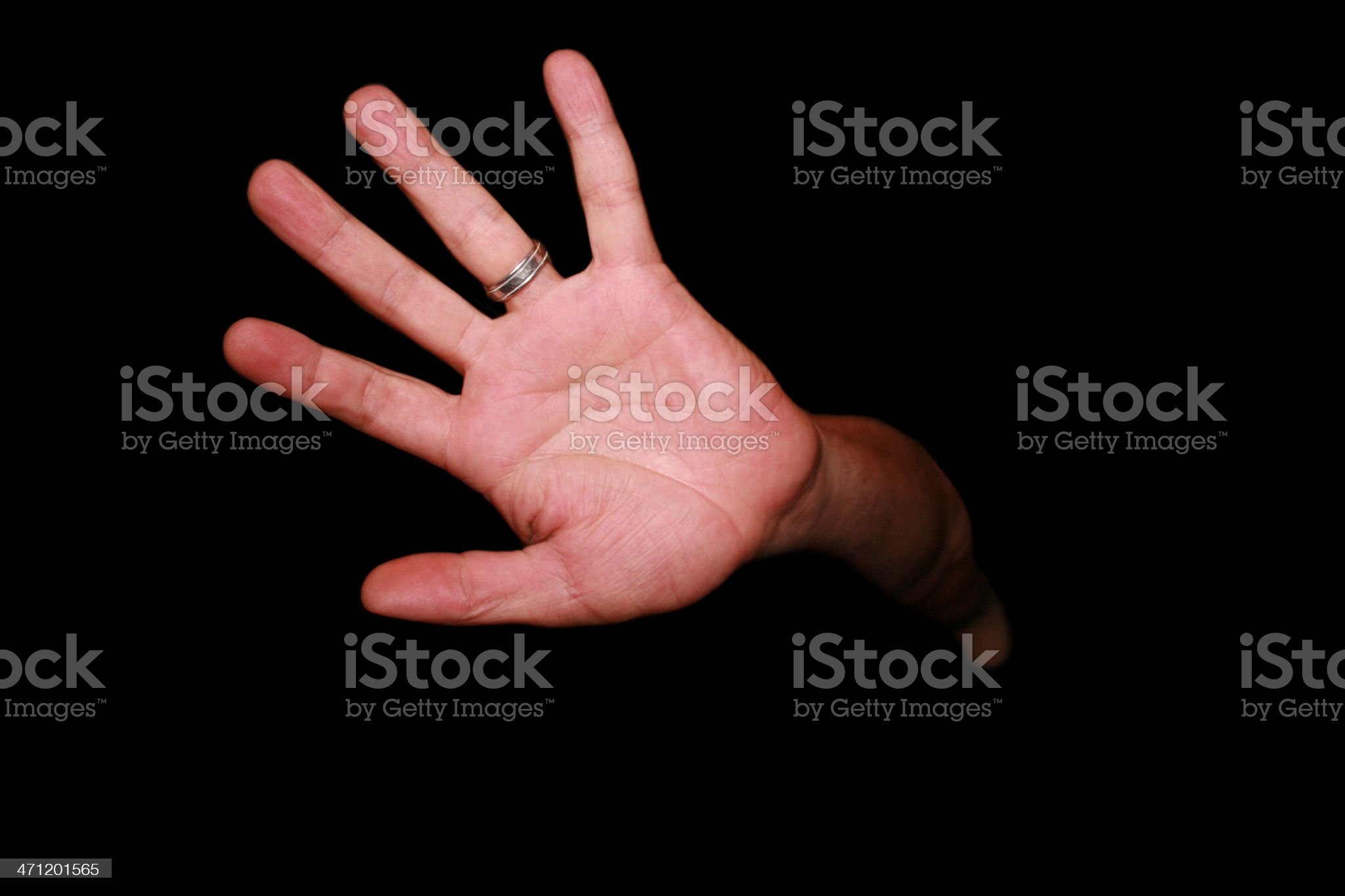 Hand Saying STOP!! with Black Background royalty-free stock photo