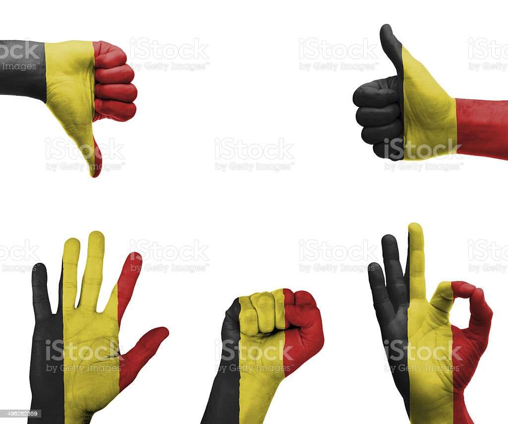 Hand set with the flag of Belgium stock photo